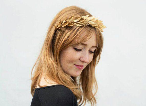 NYE Gold Leaf Headband, Gold Leaf Crown, Laurel Leaf Headpiece, New Years Eve, Toga Costume, Greek W #togacostume