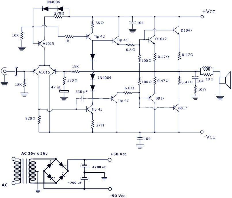 this is a 200w power amplifier circuit project the circuit features