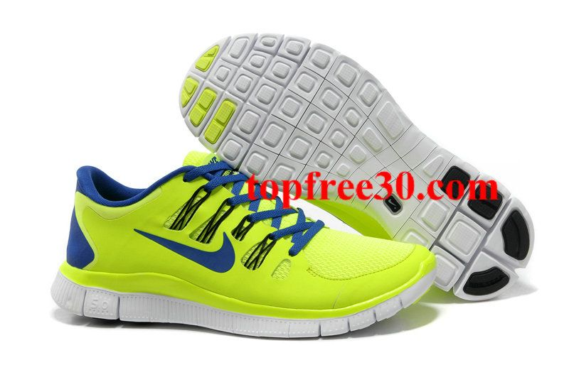 topfree30.com for nikes 50% OFF - Mens Nike Free 5.0 Yellow Blue Running Shoes      #Yellow  #Womens #Sneakers