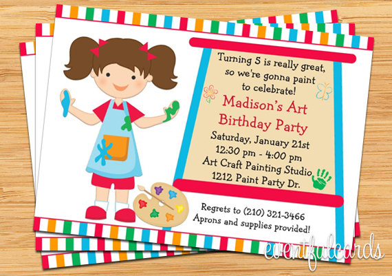 art painting birthday party invitation for kids printable for