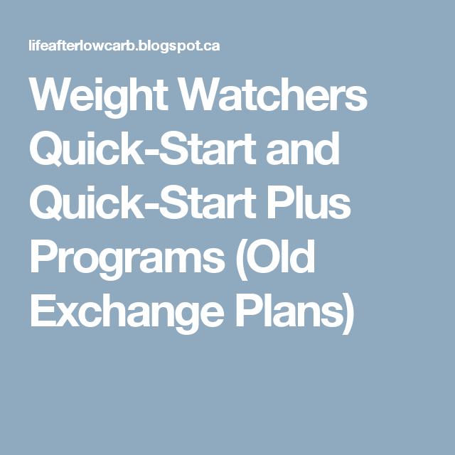 Weight watchers quick start and quick start plus programs old weight watchers quick start and quick start plus programs old exchange plans malvernweather Choice Image