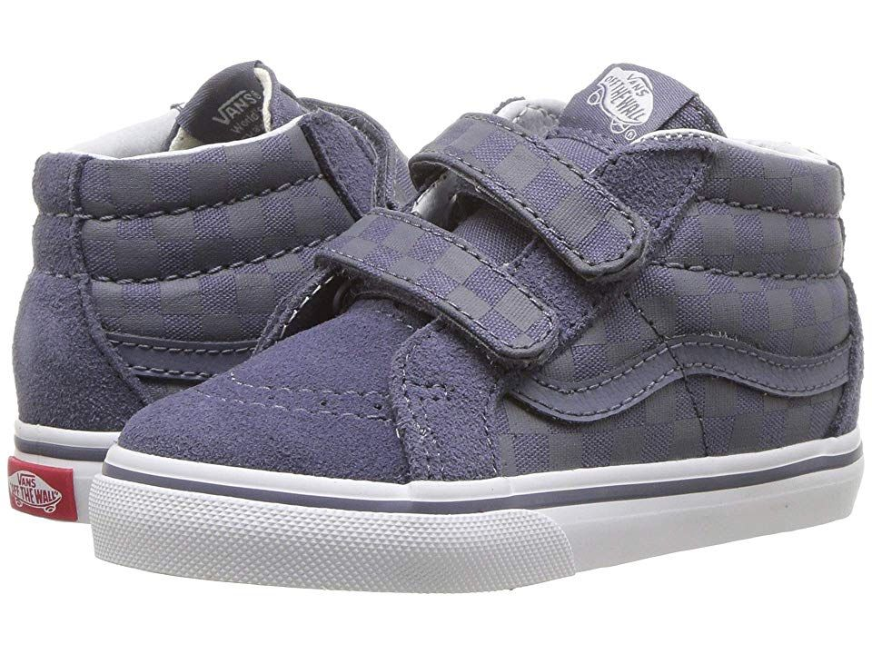 6fb22e58c054af Vans Kids Sk8-Mid Reissue V (Infant Toddler) ((Checkerboard) Grisaille) Boys  Shoes. Inspired by the iconic Vans sidestripe style they ll fall head over  ...