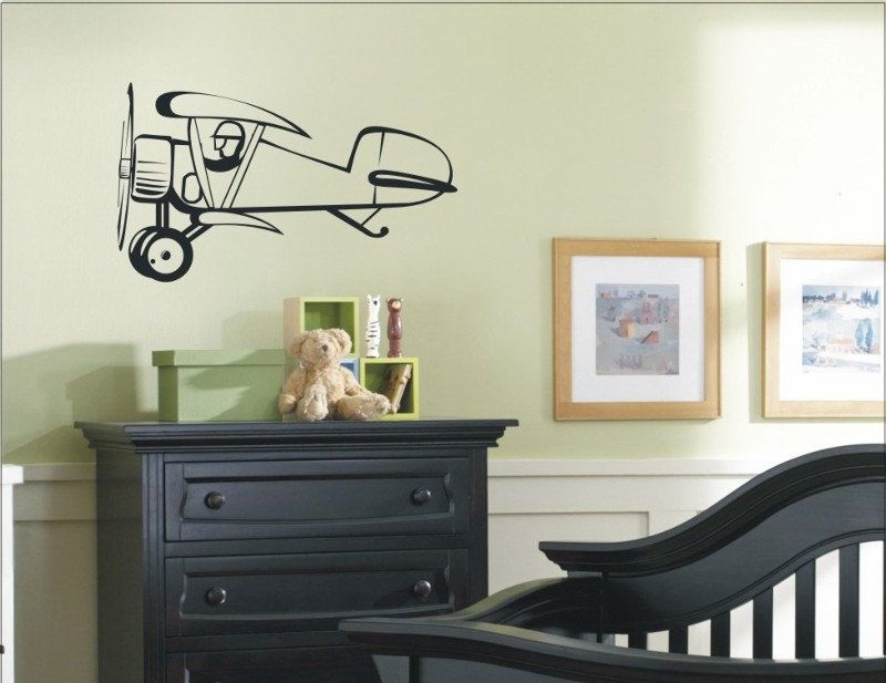 Airplane vinyl wall decals with clouds and name boy monogram decal kids fn pinterest airplanes also rh