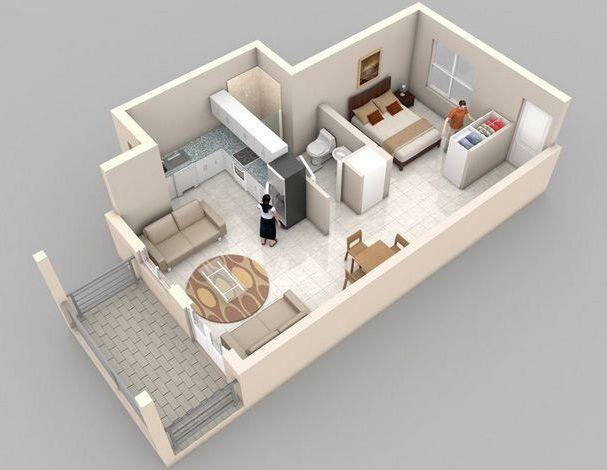 Departamento para 2 personas de planos y medidas en 2019 for Apartamentos pequenos planos