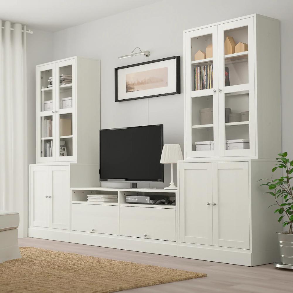 IKEA HAVSTA White TV storage combination/glass doors in