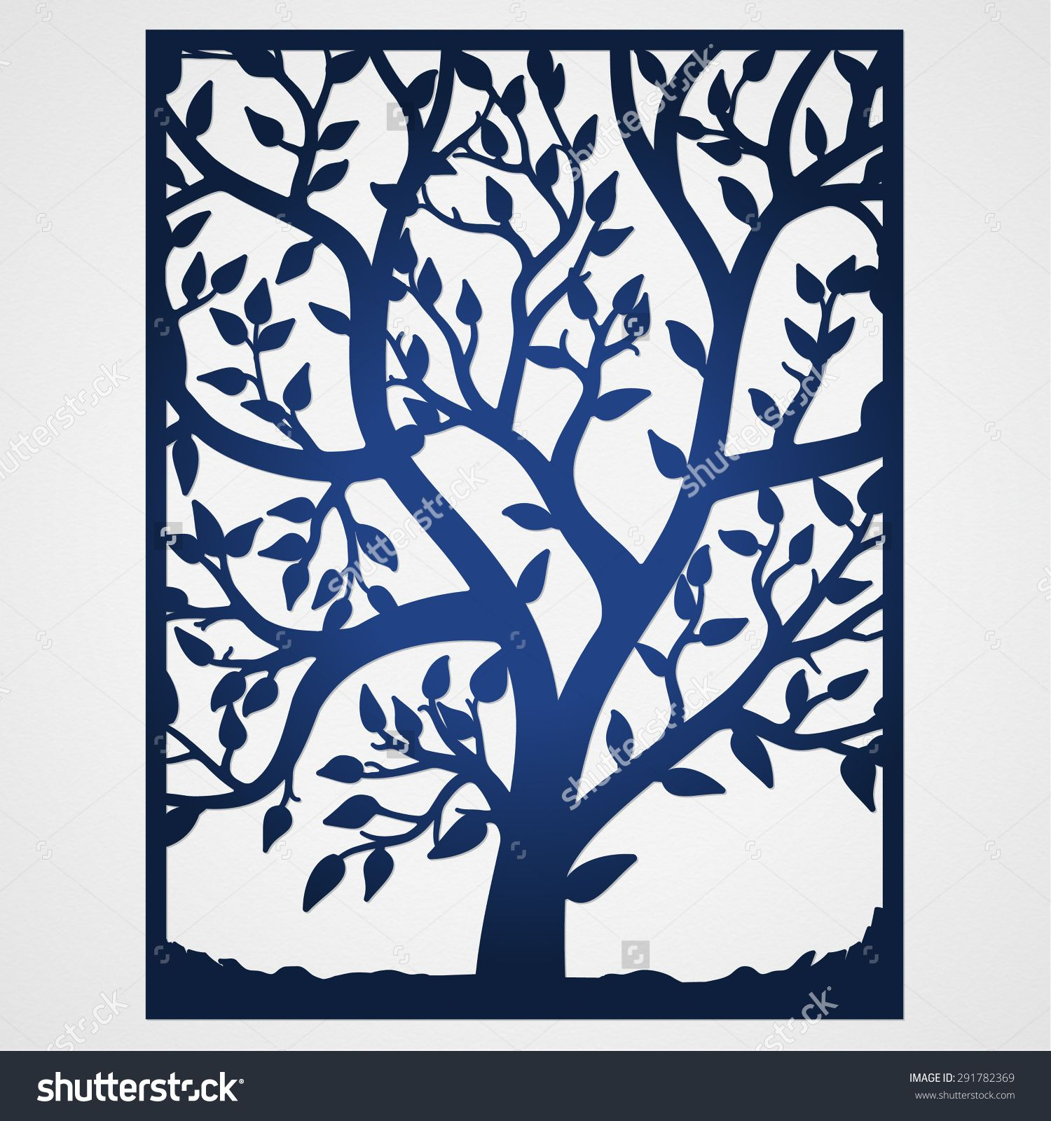 free laser cutter templates - abstract frame with tree may be used for lasercutting