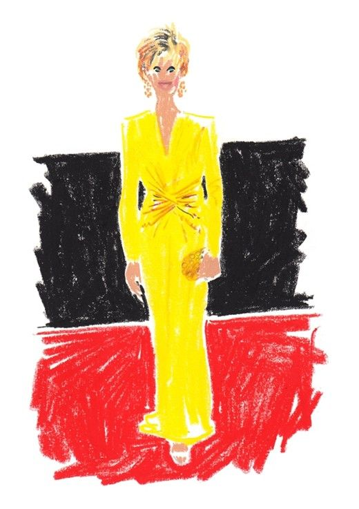 Jane Fonda in Versace.  AnOther's illustrated red carpet by Damien Florebert Cuypers.
