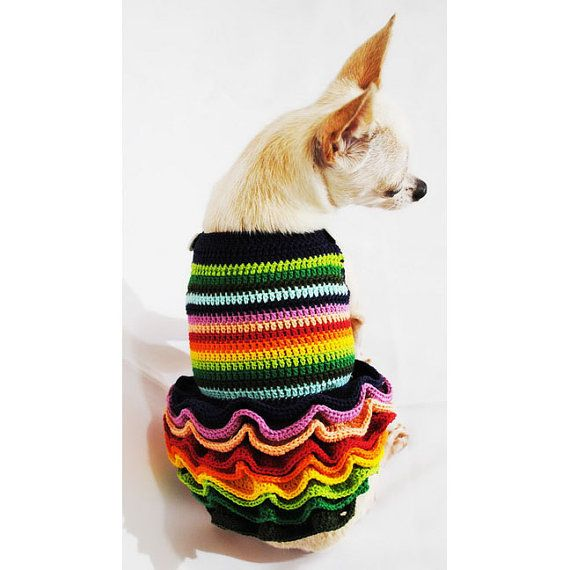 Rasta Colorful Ruffle Cute Dog Dresses size Small Wavy por myknitt ...