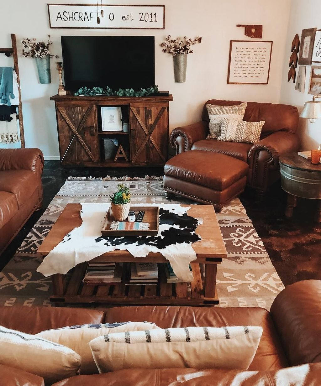 48 Gorgeous Western Rustic Home Decorating Ideas Western Living Room Decor Western Living Rooms Farm House Living Room