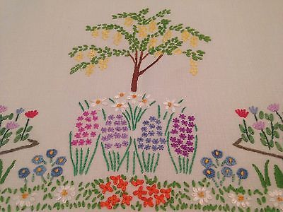 tablecloth to embroider vintage hand embroidered tablecloth iris daffodil  hollyhocks circle machine embroidery tablecloth designs