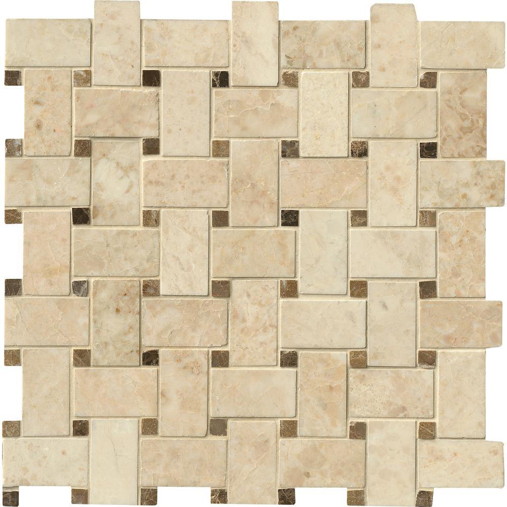 Msi Crema Cappuccino Basket Weave 12 In X 12 In X 10mm Polished Marble Mesh Mounted Mosaic Tile 10 Sq Ft Case Smot Crecap Bwp The Home Depot Mosaic Flooring Marble Tile Cappuccino
