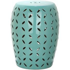 "Showcasing an openwork design and aqua finish, this ceramic garden stool is perfect for resting your latest read in the living room or displaying a blooming bouquet on the patio.        Product: Garden stoolConstruction Material: CeramicColor: AquaFeatures:  Suitable for indoor and outdoor useOpenwork designDimensions: 17"" H x 13"" Diameter"