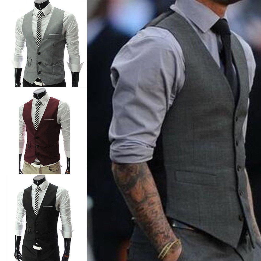 Men Trendy Botton Formal Business Slim Fit Dress Vest Suit Tuxedo Waistcoat Tops
