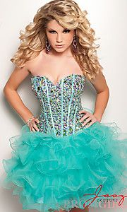 Turquoise beaded dress with tulle skirt