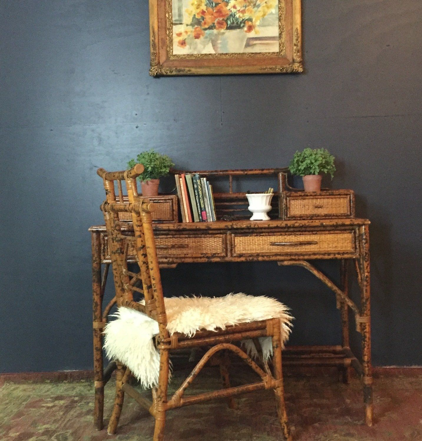 Faux bamboo rattan writing desk chair desk and chair