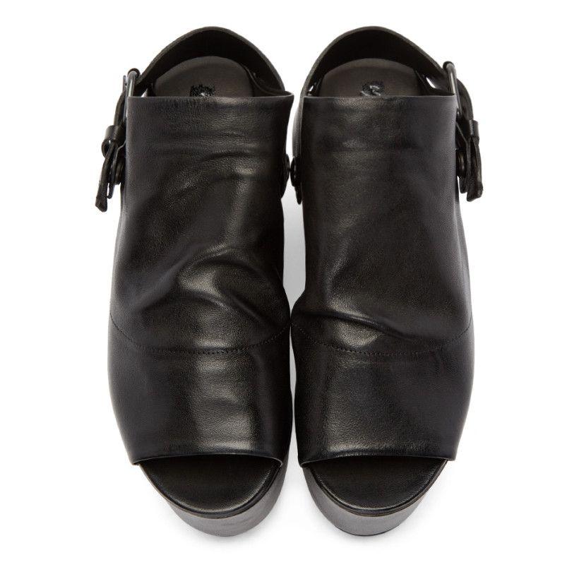 a44041c8c55a1d Marsèll Black Leather Platform Tampolo Sandals