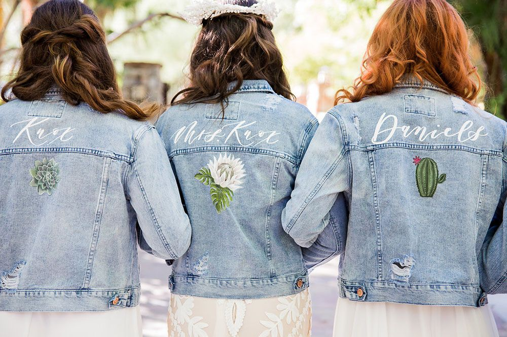 23d49d8e1751 Custom Denim Jackets with hand-painted names   desert plants - by Bash  Calligraphy