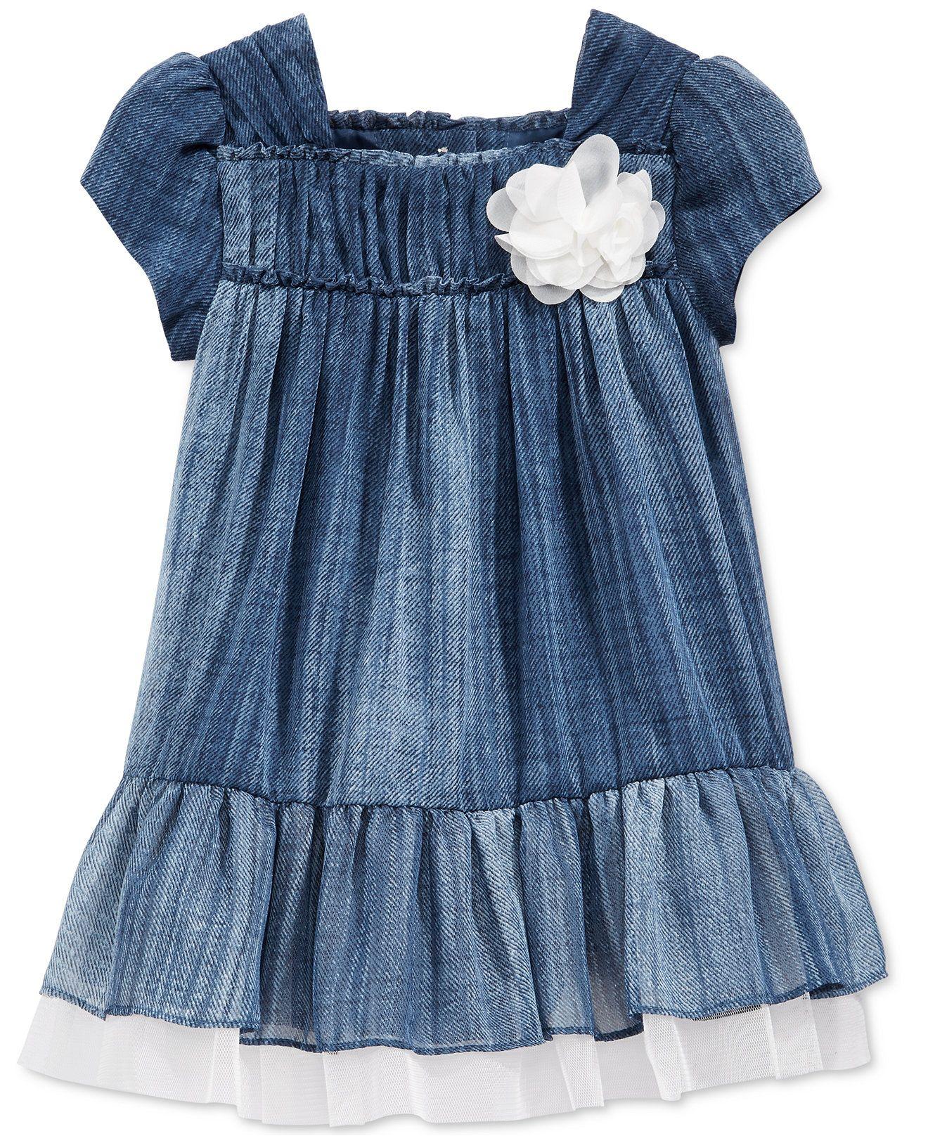 Bonnie baby baby girls denim chiffon dress dresses