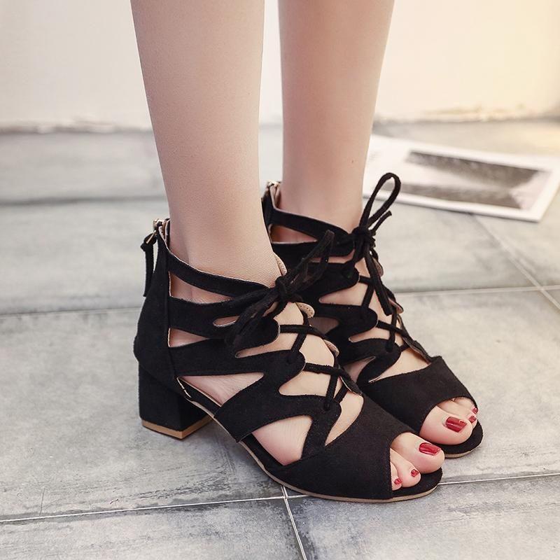 Vintage Gladiator Sandals Block High Heel Shoes Lace Up
