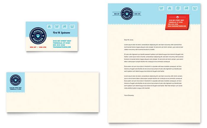 Laundry Services Business Card Letterhead Template Design