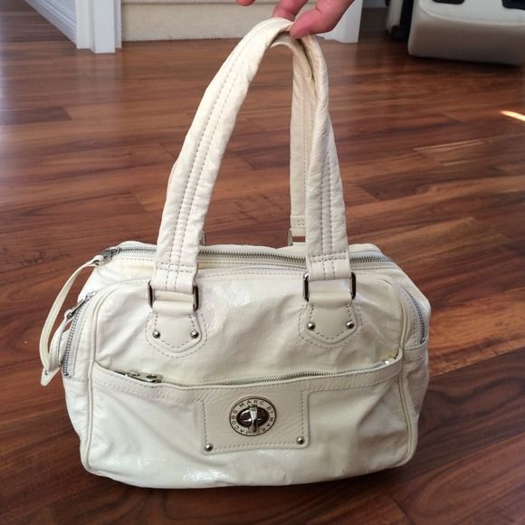 Marc by Marc Jacobs handbag Ivory patent leather Marc by Marc Jacobs handbag. Can go over shoulders. Double silver zipper closure. Marc by Marc Jacobs Bags