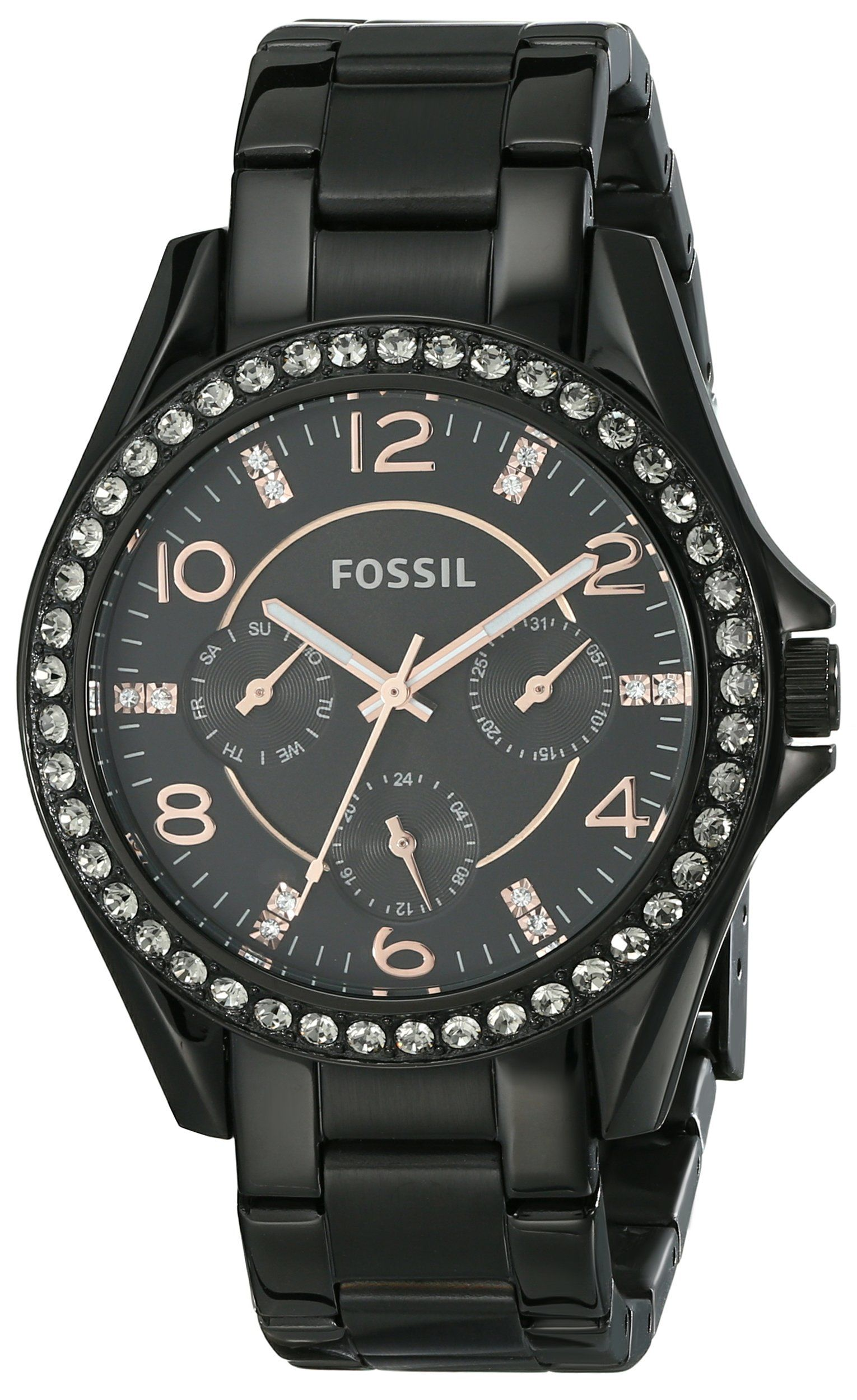 84b8c0fb37b904 Amazon.com: Fossil Women's ES3644 Riley Multifunction Stainless Steel Watch  - Black with Rose Gold-Tone Accents: Clothing