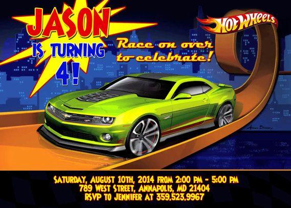 Hot Wheels Birthday Party Invitation by FantasticInvitation 799