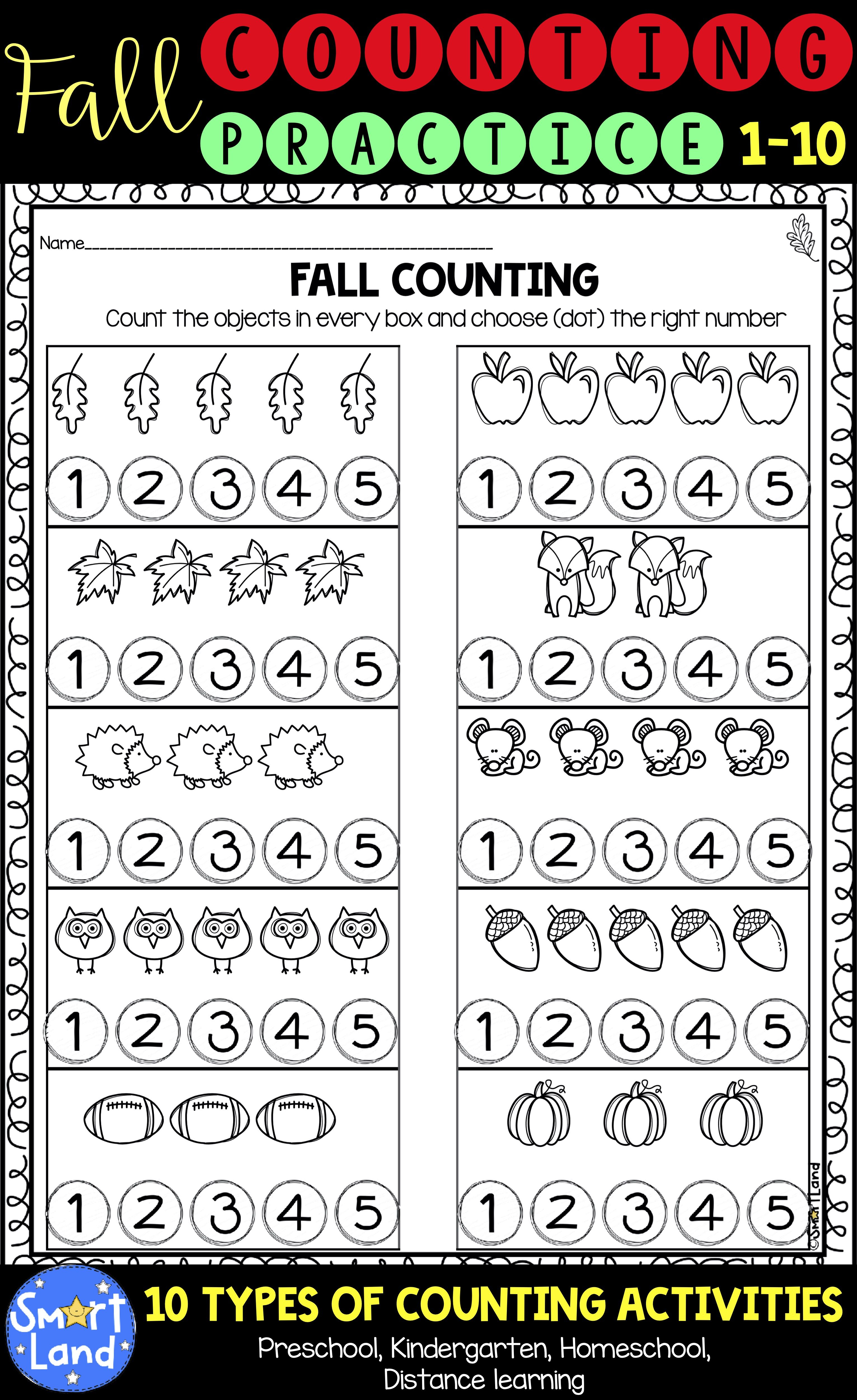 Fall Counting Practice Numbers 1 10 Distance Learning Fall Math Activities Fall Math Centers Preschool Math Worksheets [ 5000 x 3062 Pixel ]