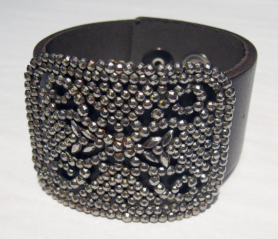 Handmade Black Leather Cuff Bracelet with Antique by LopakaDesigns