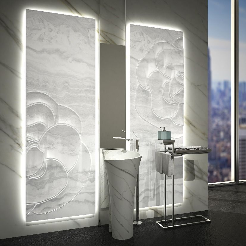 Sculptured Backlit White Onyx Panel Stone Marble And
