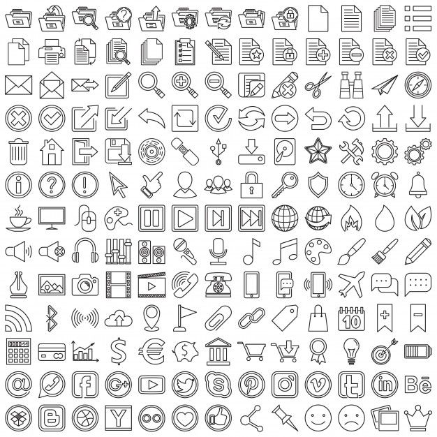 Download Set Of Linear Web Icons for free Vector free