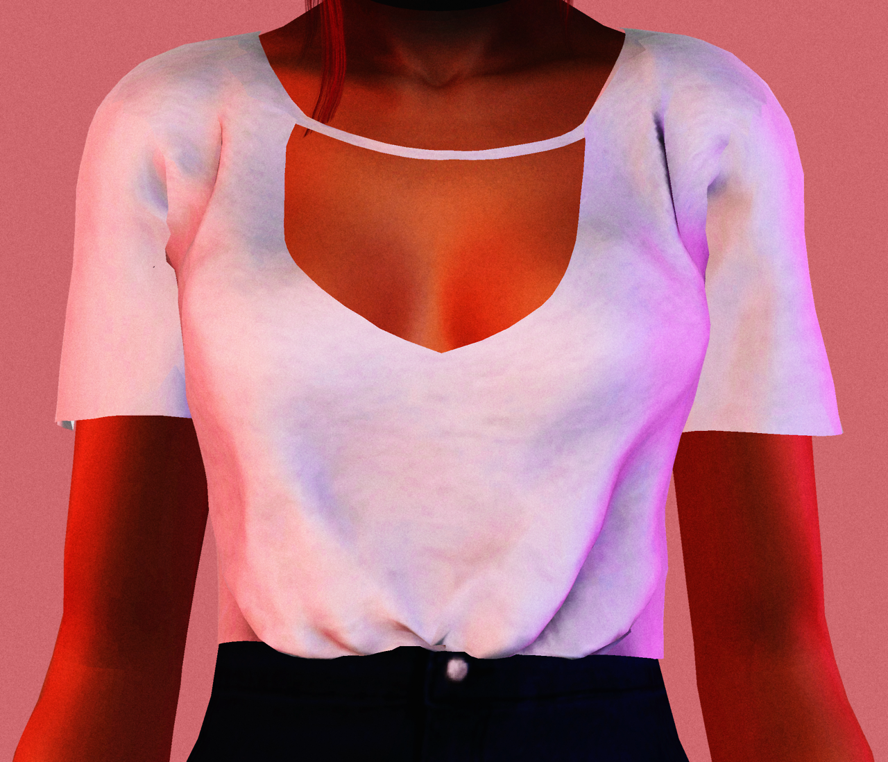 Lumy-sims Sybel Tucked in T-shirt Converted To Sims 3 • All credit goes to @lumysims • Recolorable • There are bones assignment problems under the arms, sorry • 1024x1024 Texture • Original Sims 4 Post [X] Package / Mirror Sims3Pack / Mirror