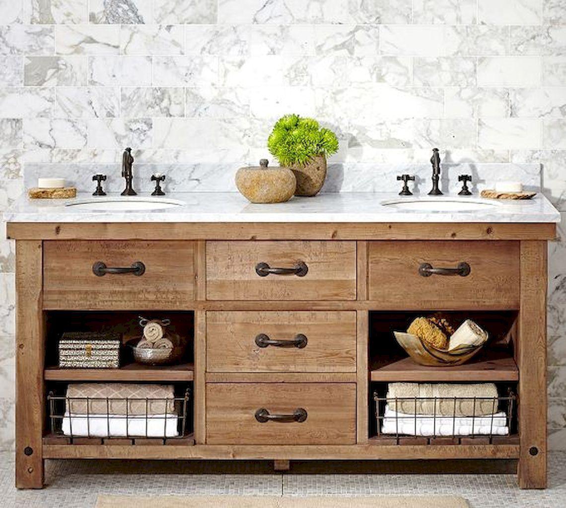 125 Awesome Farmhouse Bathroom Vanity Remodel Ideas 64
