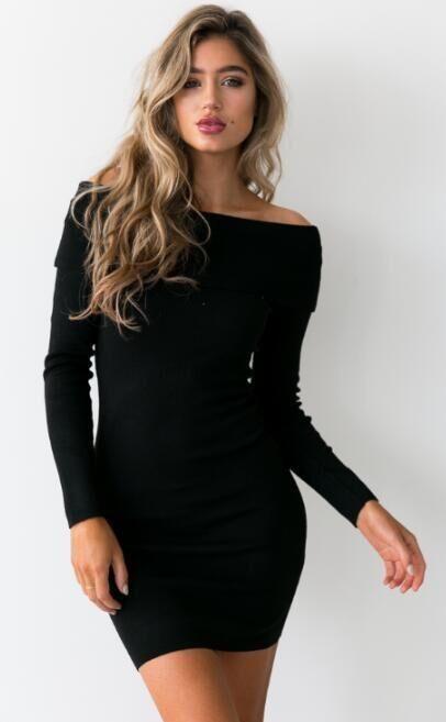 5bb26758c63 Knit Off Shoulder Short Pure Color Long Sleeve Bodycon Dress ...