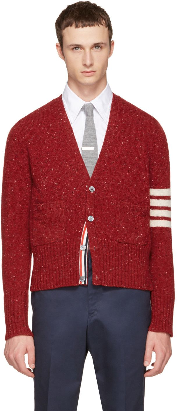Thom Browne - Red Classic Mohair V-Neck Cardigan | Fabulous Mens ...