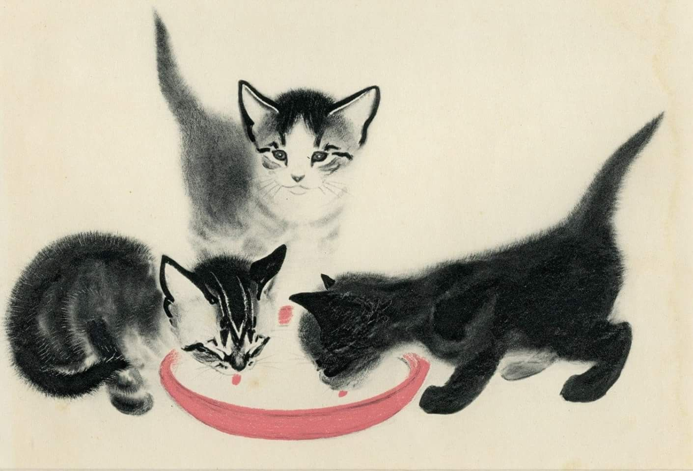 Clare Turlay Newberry American 1903 1970 An Illustration Of Three Kittens From Her Book April S Kittens 1940 Cats Illustration Cat Art Cats