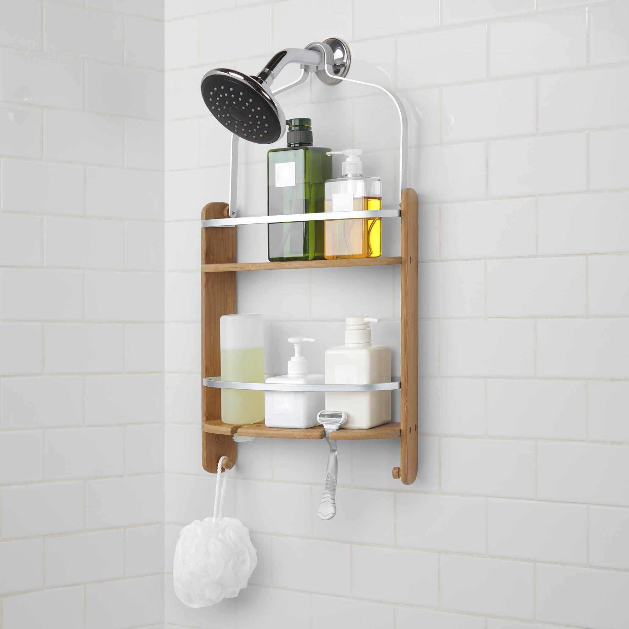 A Unique Shower Caddy To Complement Your Contemporary Style Made Of Mildew Resistant Bamboo And Aluminum This Bamboo Shower Caddy Shower Caddy Shower Storage