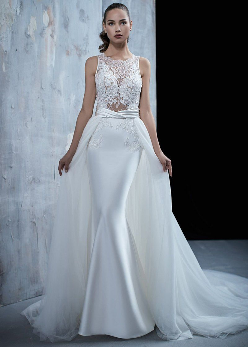 Simple Wedding Dress, Brilliant Tulle & Satin Bateau