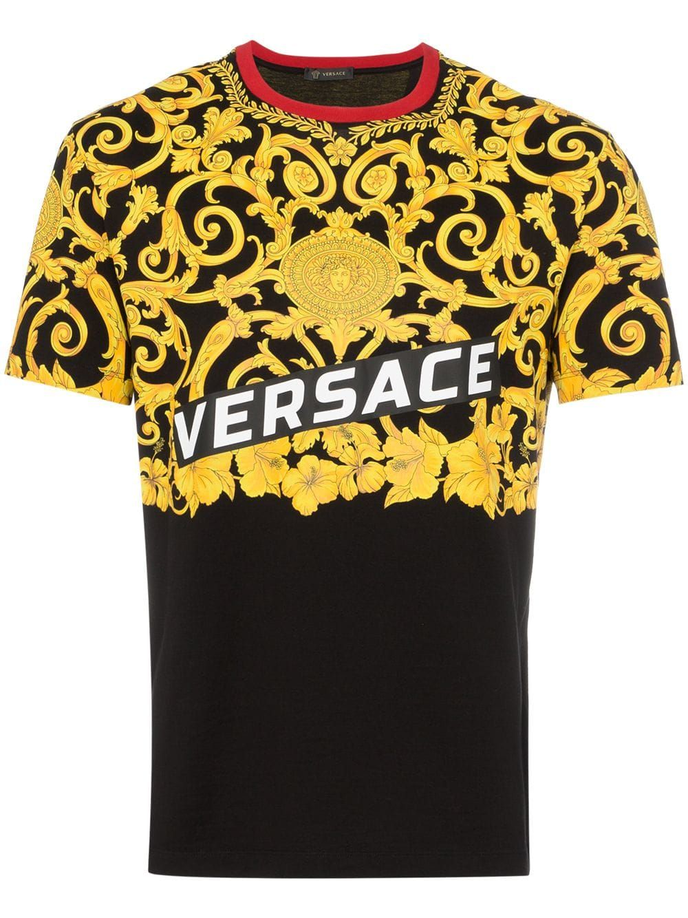 60368098 VERSACE VERSACE HIBISCUS PRINT TWO TONED COTTON T-SHIRT - BLACK. #versace  #cloth