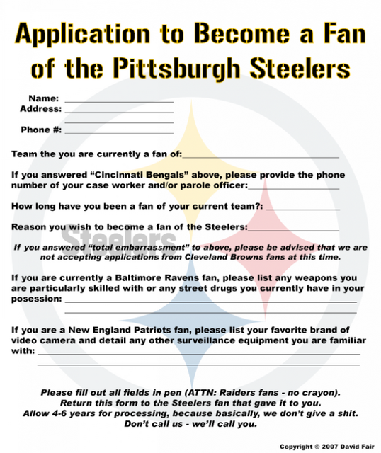 Official Steelers Fan Application Form  Cincinnati Bengals