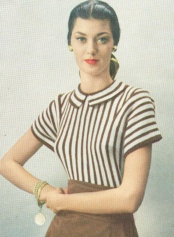 Vintage 1940s Striped Sweater with Peter Pan Collar Knitting Pattern ...