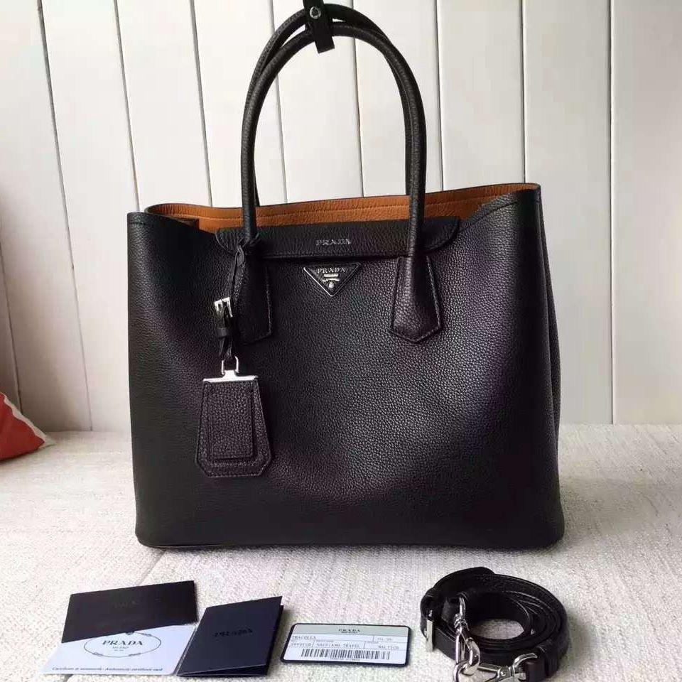 513c088aa367 Prada 1BG007 Large Calf Leather Double Bag Black 2016 Prada Bag