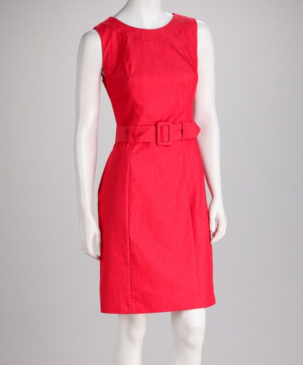 Loving this Sharagano Red Belted Sleeveless Dress on #zulily! #zulilyfinds