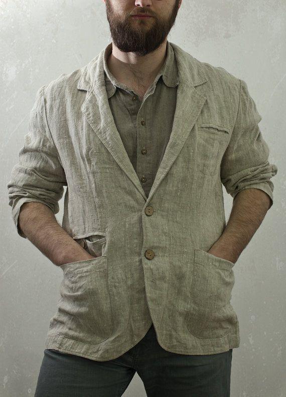 men 39 s linen jacket studio with elbow patches blazer. Black Bedroom Furniture Sets. Home Design Ideas