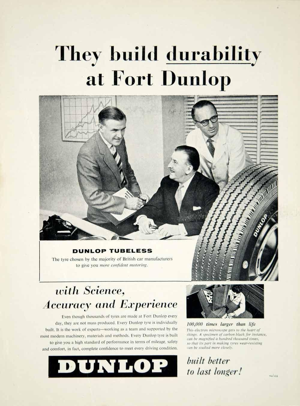 1958 Ad Dunlop Tubeless Tyre Tire Car Automobile Part Garage Transportation YMT2