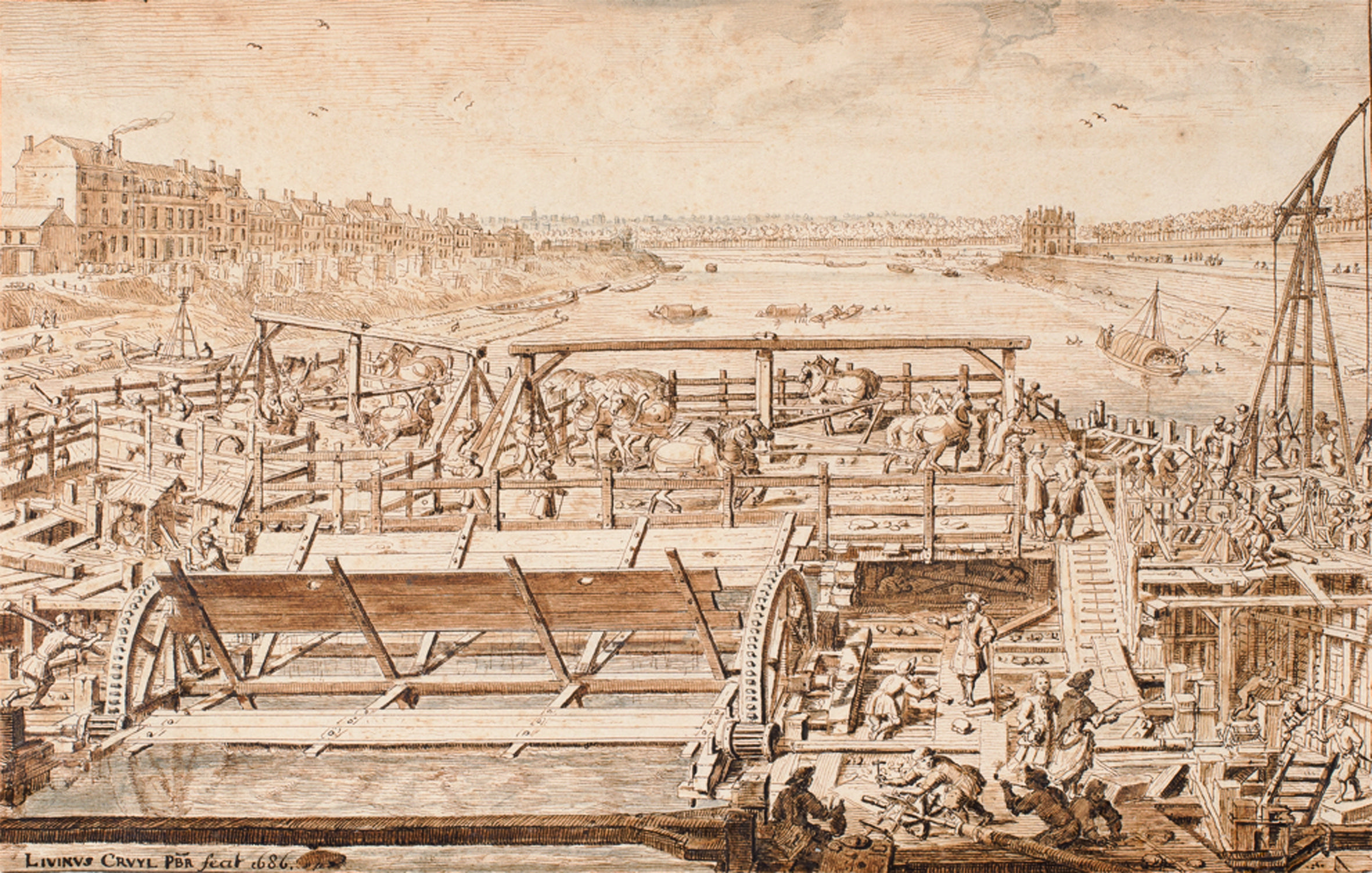 This drawing by Lieven Cruyl (1634 - 1720) depicts the construction of the Pont Royal over the river Seine in Paris in 1686. The figure seen in the near foreground, to the right of centre, is almost certainly the architect Jacques Gabriel. Coll. Stephen Ongpin Fine Art