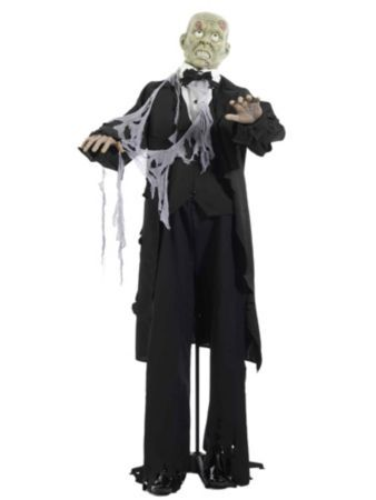 Standing Tuxedo Zombie Figure Halloween Decorations costumes at