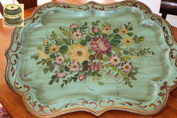 Vintage Green Metal Tray painted with floral design by Bellafatima