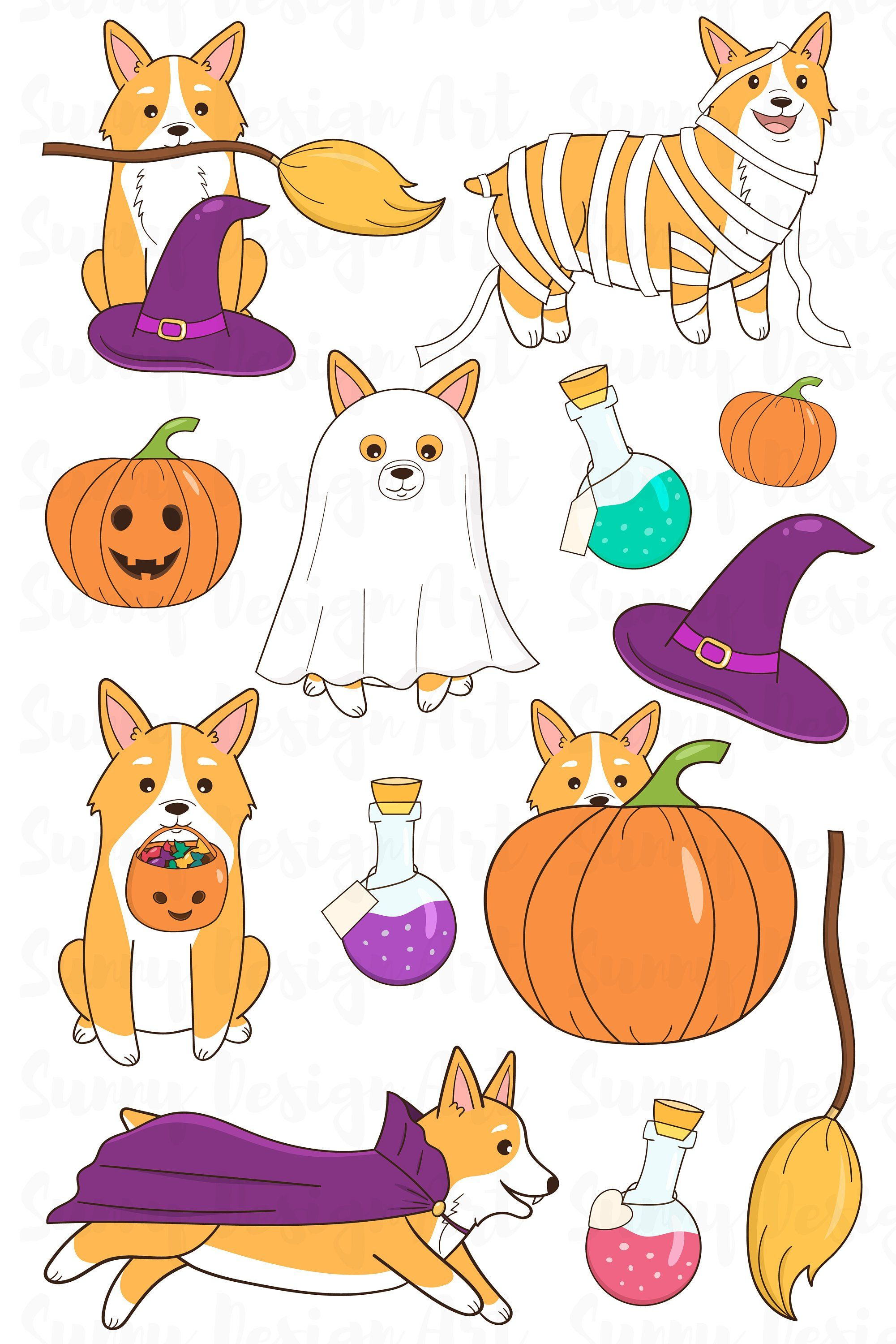 Halloween Clip Art 2020 Halloween Welsh Corgi clipart Cute Halloween clipart | Etsy in