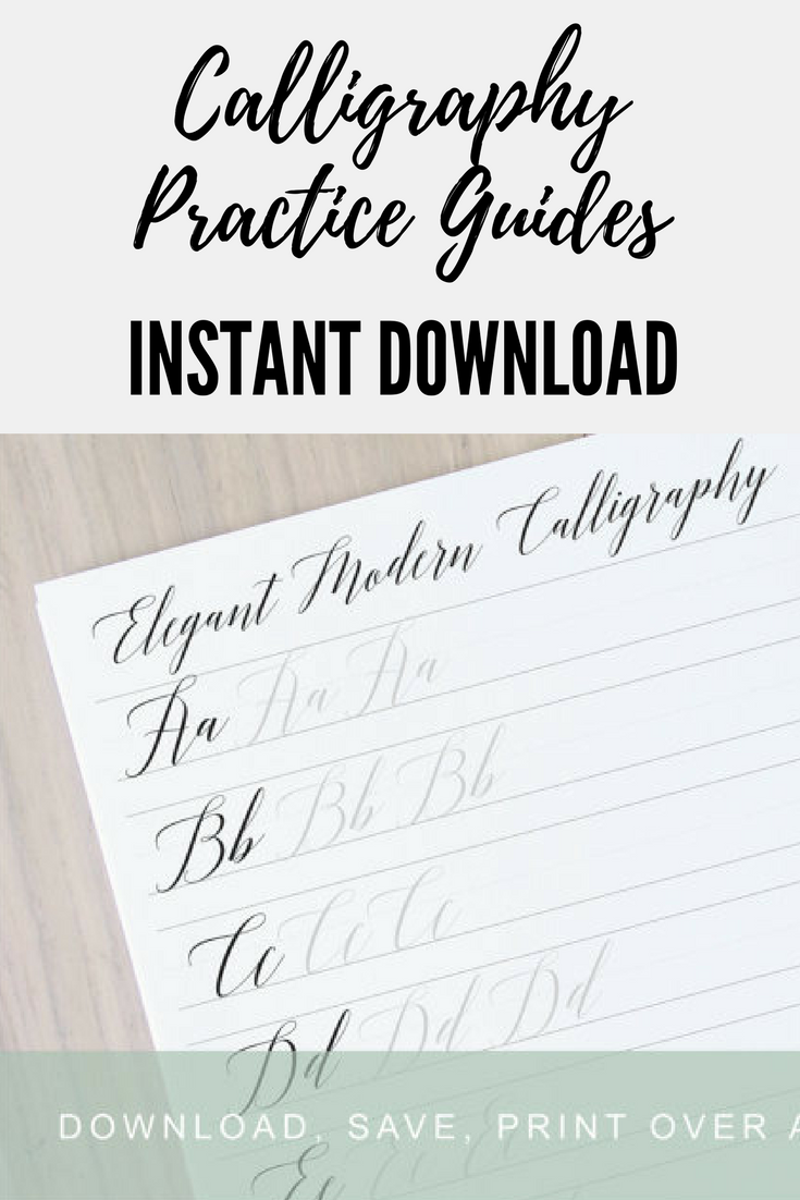 Elgant Modern Calligraphy Lettering Worksheets Practice Guides Learn Printable